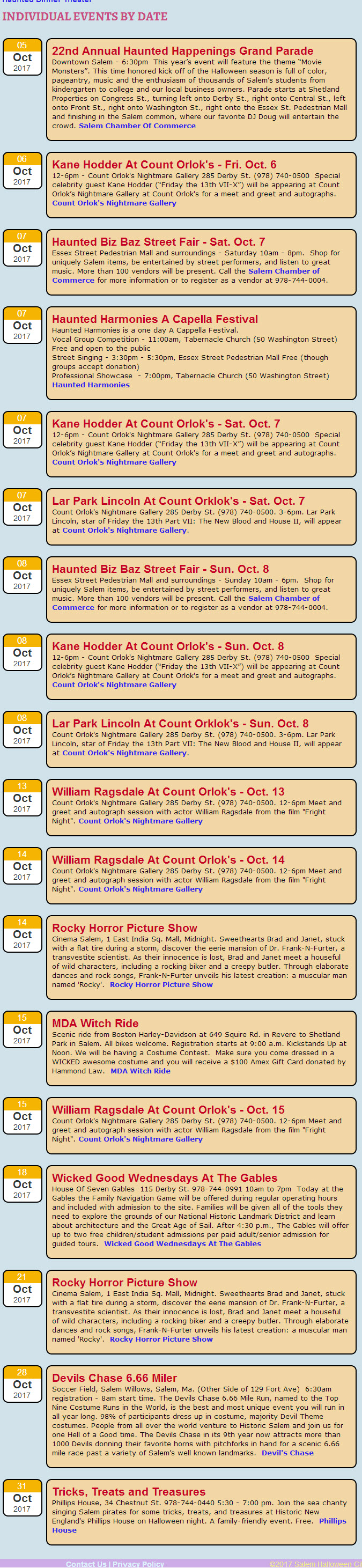 Salem, MA Schedule of Events