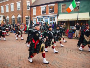 BagPipe Players March through Main Street